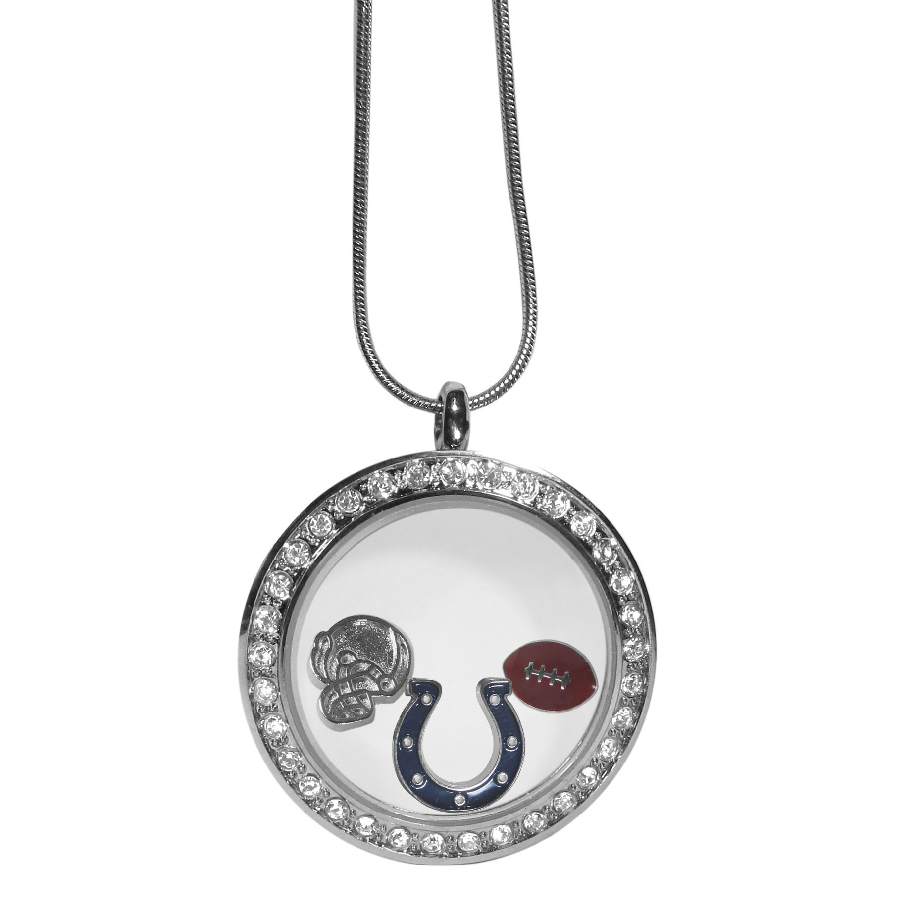 Indianapolis Colts Locket Necklace - We have taken the classic floating charm locket and combined with licensed sports charms to create a must have fan necklace. The necklace comes with 3 charms; 1 Indianapolis Colts charm, one football charm and one helmet charm. The charms float in a beautiful locket that has a strong magnetic closure with a rhinestone border. The locket comes on an 18 inch snake chain with 2 inch extender.