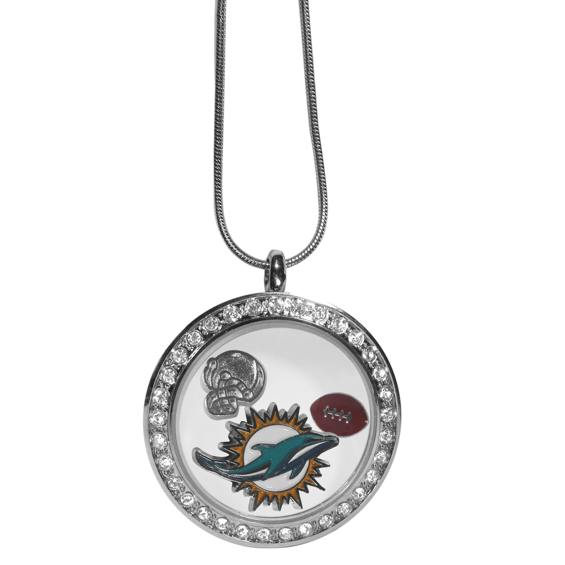 Miami Dolphins Locket Necklace - We have taken the classic floating charm locket and combined with licensed sports charms to create a must have fan necklace. The necklace comes with 3 charms; 1 Miami Dolphins charm, one football charm and one helmet charm. The charms float in a beautiful locket that has a strong magnetic closure with a rhinestone border. The locket comes on an 18 inch snake chain with 2 inch extender.