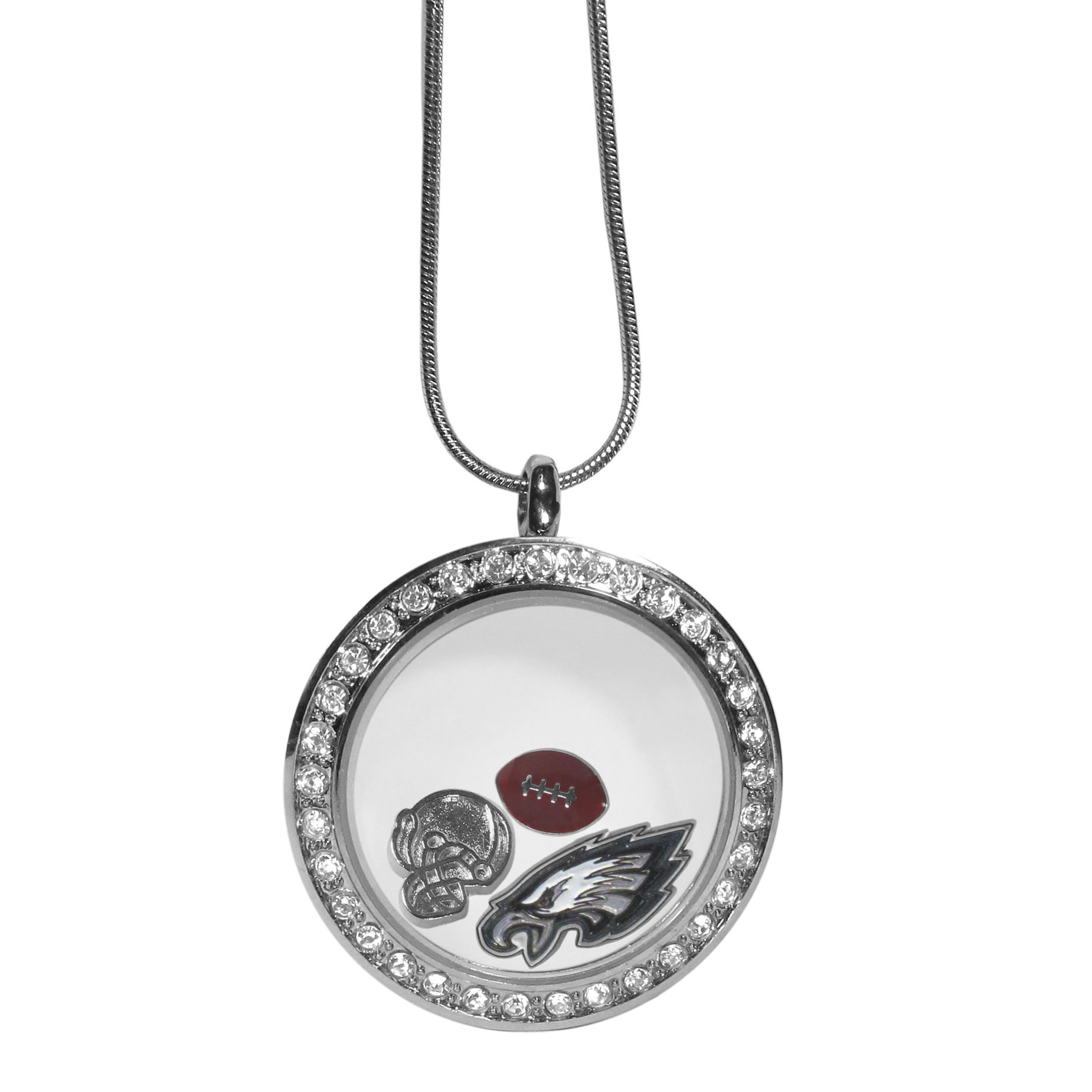 Philadelphia Eagles Locket Necklace - We have taken the classic floating charm locket and combined with licensed sports charms to create a must have fan necklace. The necklace comes with 3 charms; 1 Philadelphia Eagles charm, one football charm and one helmet charm. The charms float in a beautiful locket that has a strong magnetic closure with a rhinestone border. The locket comes on an 18 inch snake chain with 2 inch extender.