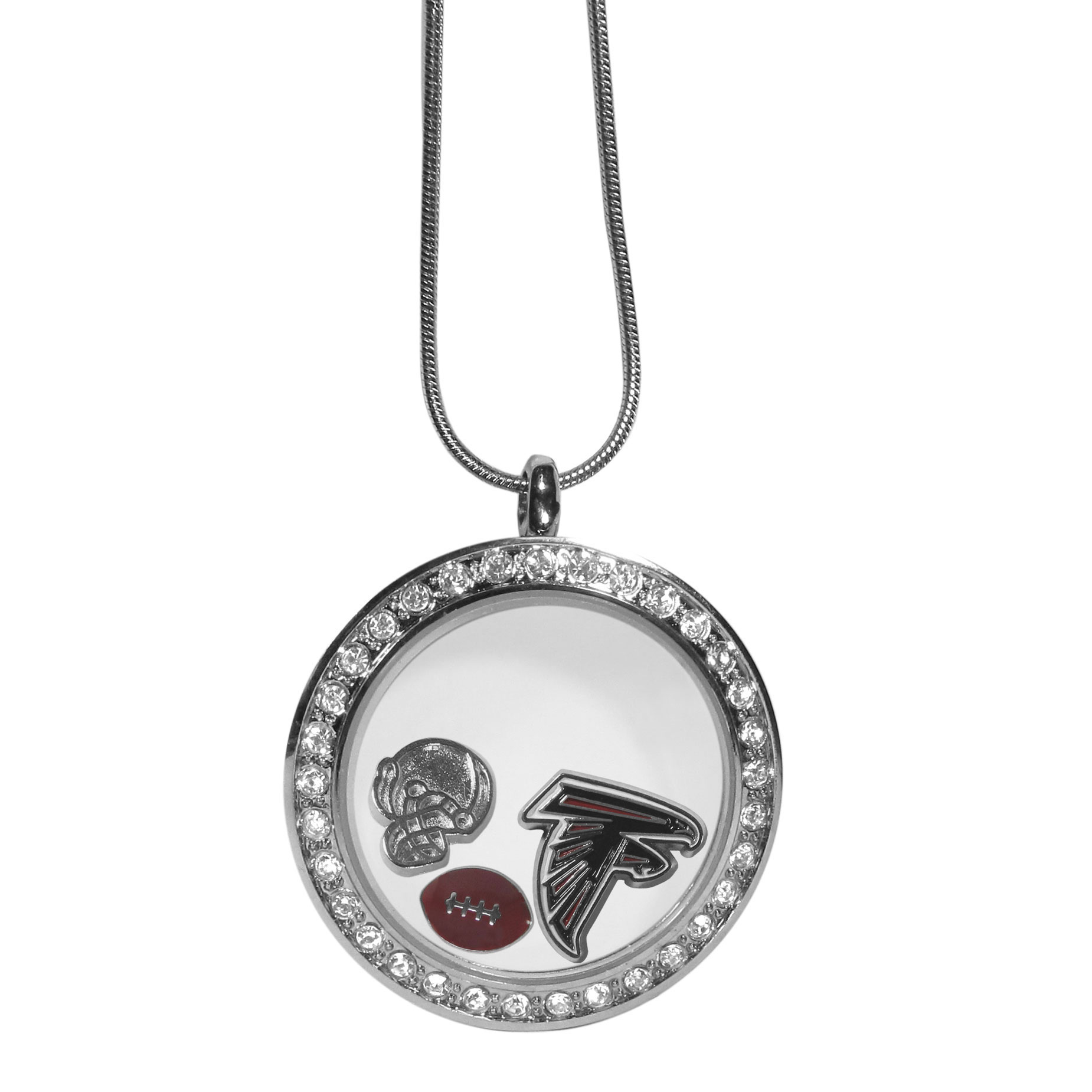 Atlanta Falcons Locket Necklace - We have taken the classic floating charm locket and combined with licensed sports charms to create a must have fan necklace. The necklace comes with 3 charms; 1 Atlanta Falcons charm, one football charm and one helmet charm. The charms float in a beautiful locket that has a strong magnetic closure with a rhinestone border. The locket comes on an 18 inch snake chain with 2 inch extender.