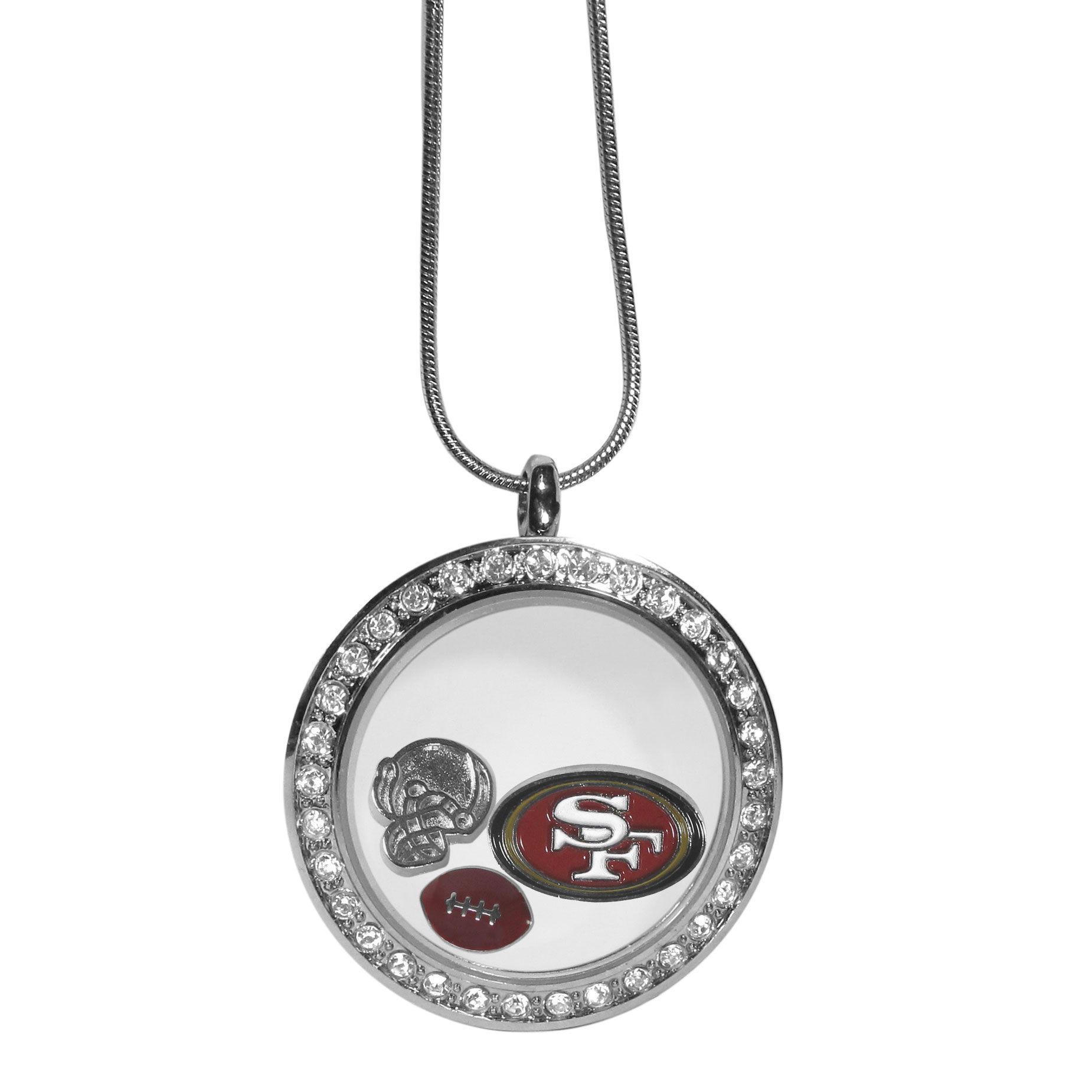 San Francisco 49ers Locket Necklace - We have taken the classic floating charm locket and combined with licensed sports charms to create a must have fan necklace. The necklace comes with 3 charms; 1 San Francisco 49ers charm, one football charm and one helmet charm. The charms float in a beautiful locket that has a strong magnetic closure with a rhinestone border. The locket comes on an 18 inch snake chain with 2 inch extender.