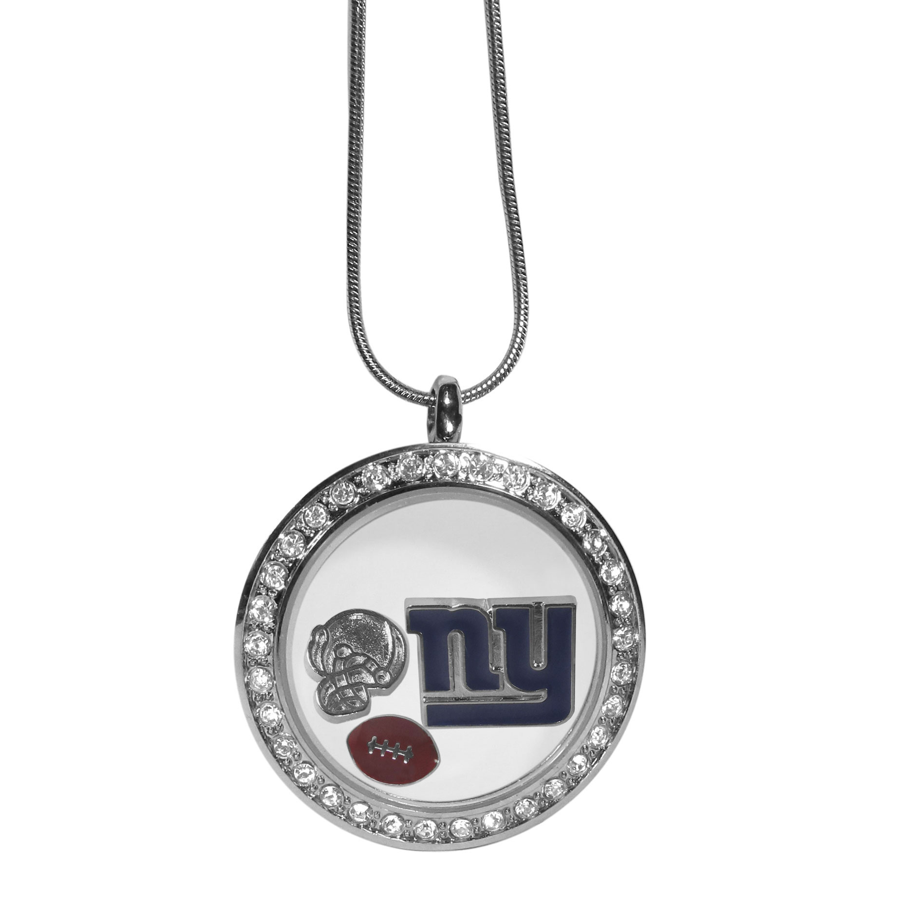 New York Giants Locket Necklace - We have taken the classic floating charm locket and combined with licensed sports charms to create a must have fan necklace. The necklace comes with 3 charms; 1 New York Giants charm, one football charm and one helmet charm. The charms float in a beautiful locket that has a strong magnetic closure with a rhinestone border. The locket comes on an 18 inch snake chain with 2 inch extender.
