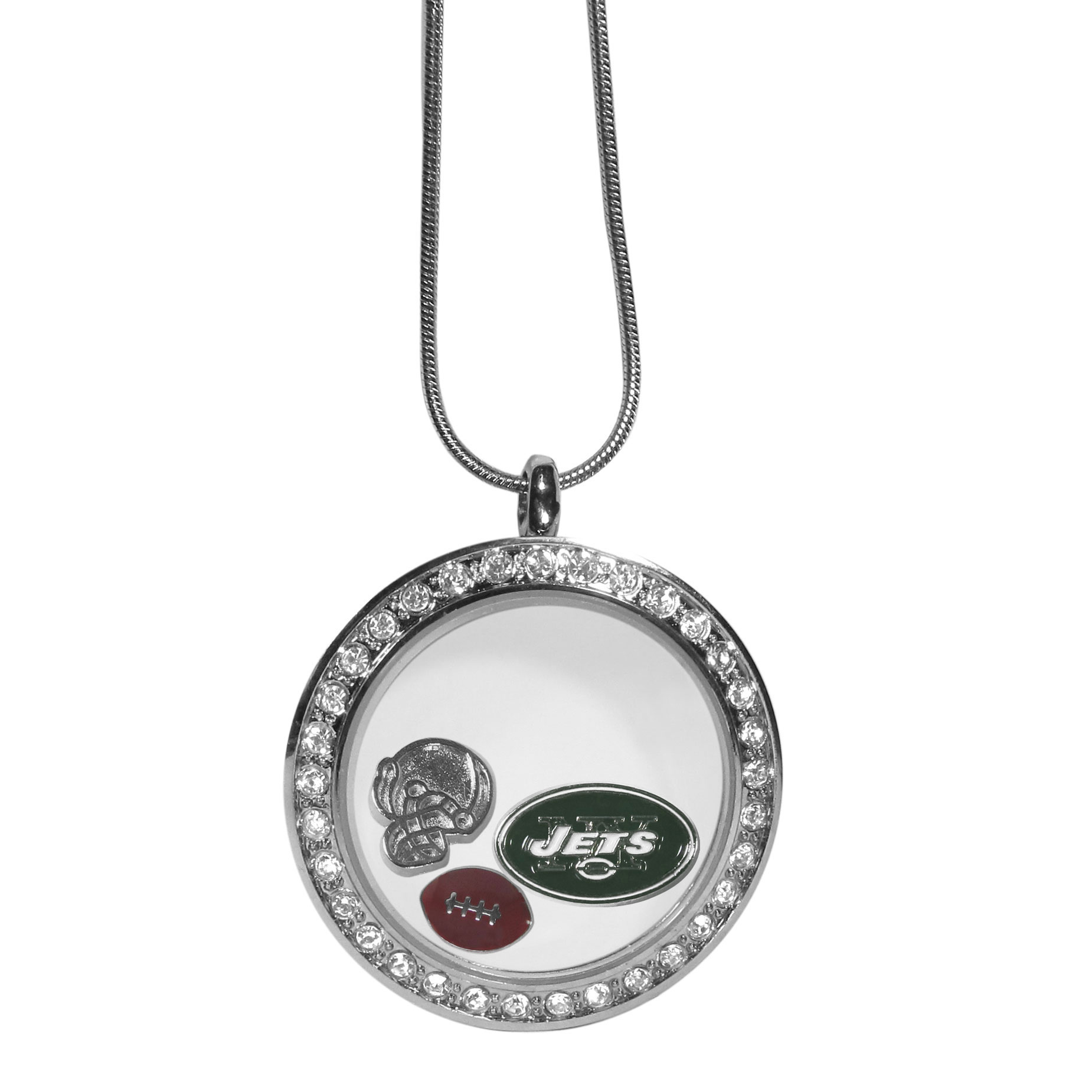 New York Jets Locket Necklace - We have taken the classic floating charm locket and combined with licensed sports charms to create a must have fan necklace. The necklace comes with 3 charms; 1 New York Jets charm, one football charm and one helmet charm. The charms float in a beautiful locket that has a strong magnetic closure with a rhinestone border. The locket comes on an 18 inch snake chain with 2 inch extender.