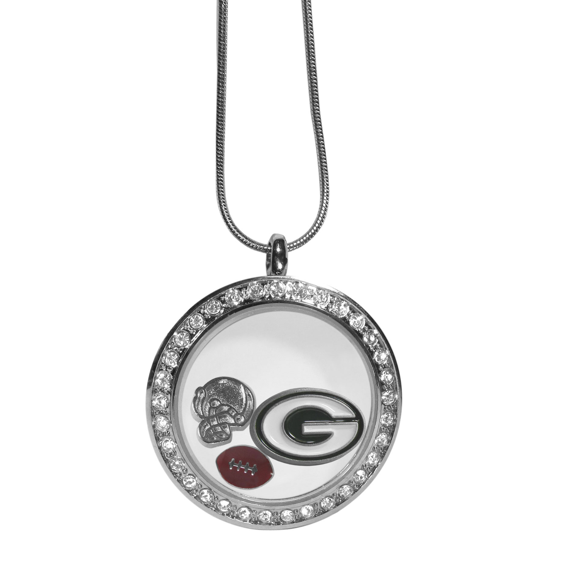 Green Bay Packers Locket Necklace - We have taken the classic floating charm locket and combined with licensed sports charms to create a must have fan necklace. The necklace comes with 3 charms; 1 Green Bay Packers charm, one football charm and one helmet charm. The charms float in a beautiful locket that has a strong magnetic closure with a rhinestone border. The locket comes on an 18 inch snake chain with 2 inch extender.