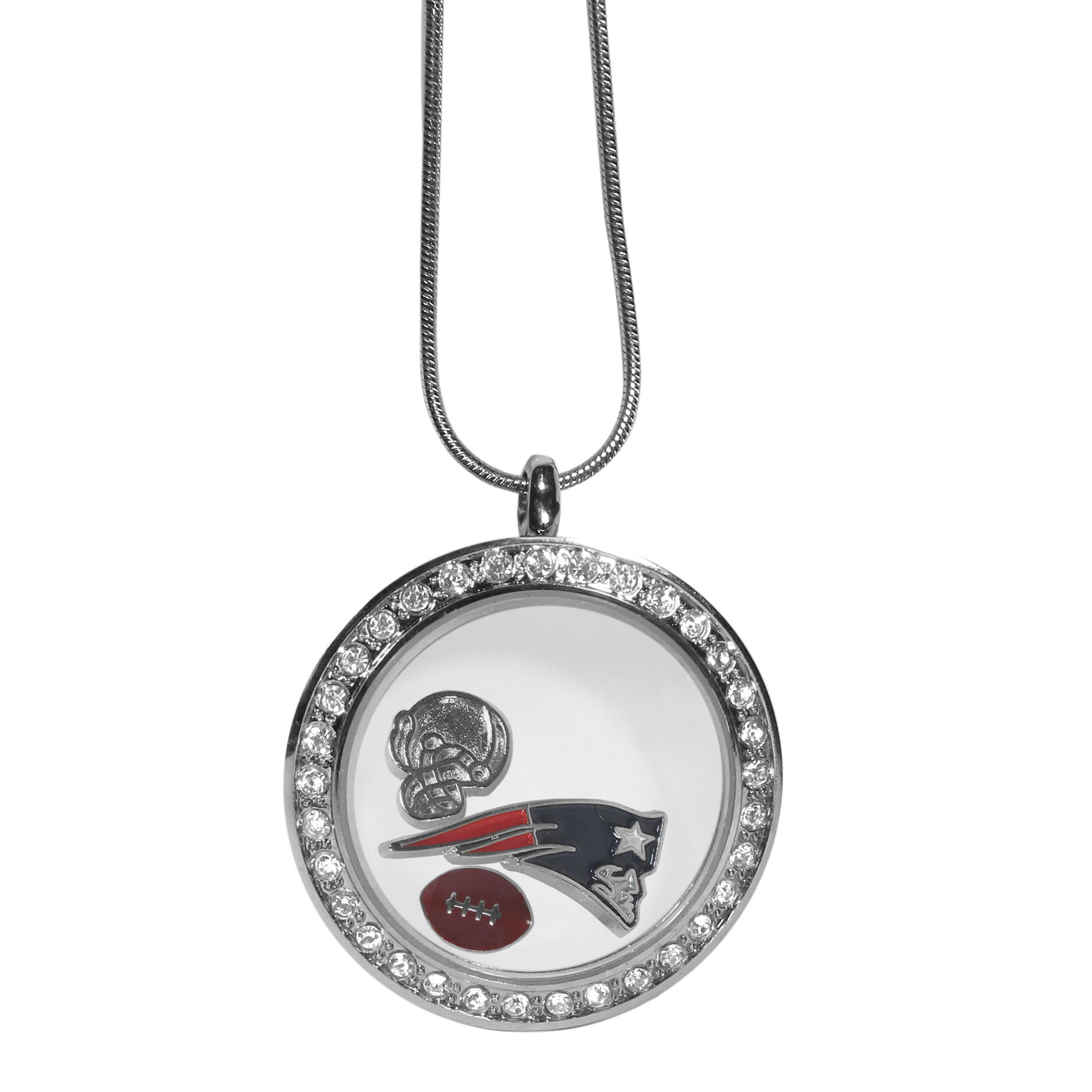 New England Patriots Locket Necklace - We have taken the classic floating charm locket and combined with licensed sports charms to create a must have fan necklace. The necklace comes with 3 charms; 1 New England Patriots charm, one football charm and one helmet charm. The charms float in a beautiful locket that has a strong magnetic closure with a rhinestone border. The locket comes on an 18 inch snake chain with 2 inch extender.