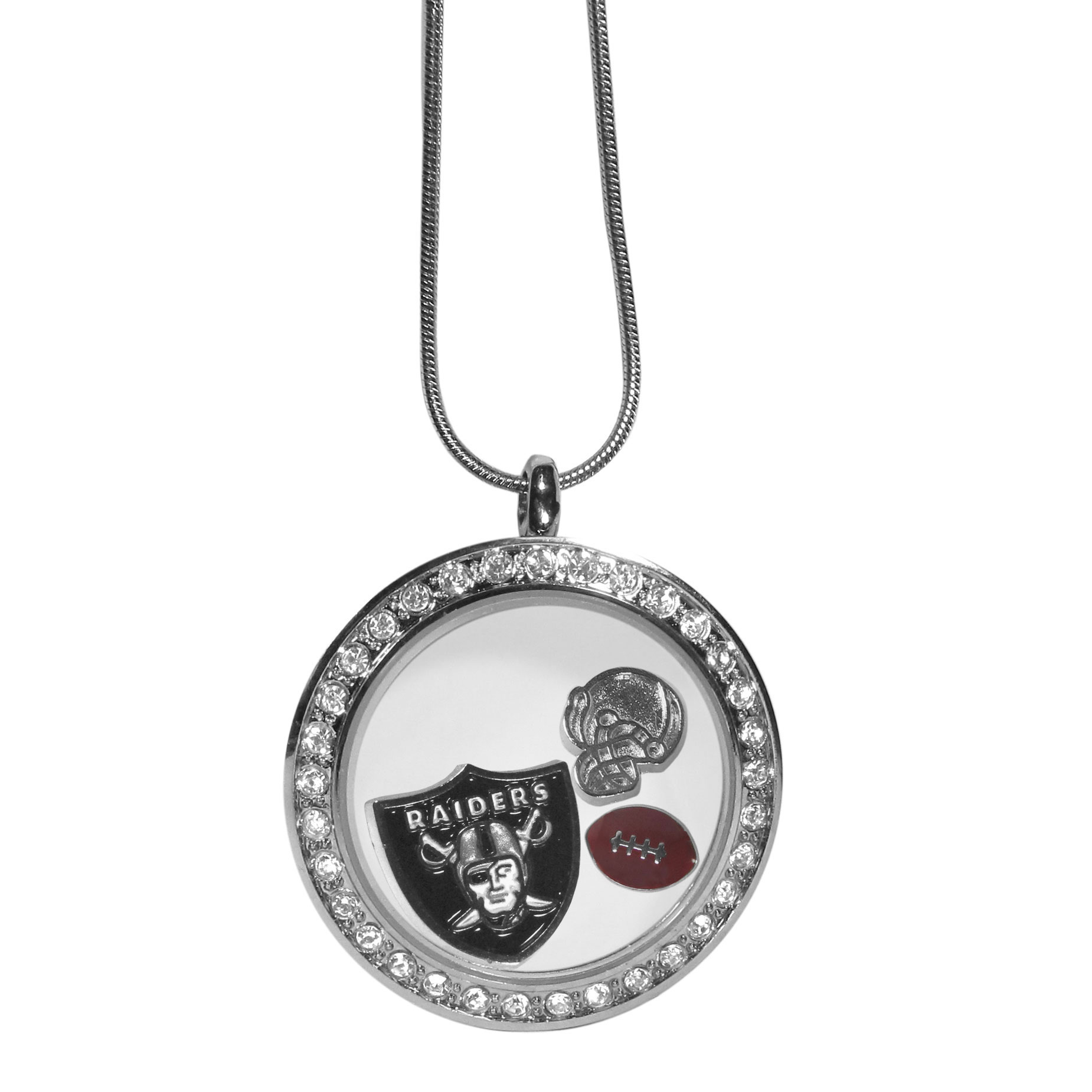 Oakland Raiders Locket Necklace - We have taken the classic floating charm locket and combined with licensed sports charms to create a must have fan necklace. The necklace comes with 3 charms; 1 Oakland Raiders charm, one football charm and one helmet charm. The charms float in a beautiful locket that has a strong magnetic closure with a rhinestone border. The locket comes on an 18 inch snake chain with 2 inch extender.