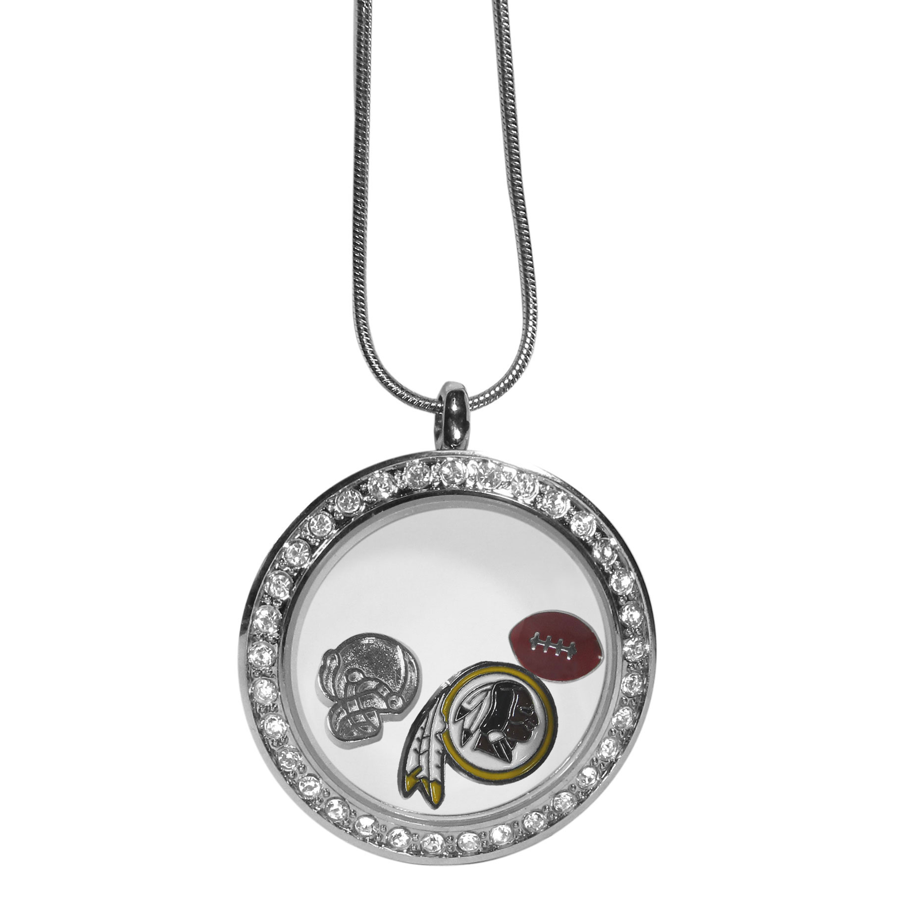 Washington Redskins Locket Necklace - We have taken the classic floating charm locket and combined with licensed sports charms to create a must have fan necklace. The necklace comes with 3 charms; 1 Washington Redskins charm, one football charm and one helmet charm. The charms float in a beautiful locket that has a strong magnetic closure with a rhinestone border. The locket comes on an 18 inch snake chain with 2 inch extender.