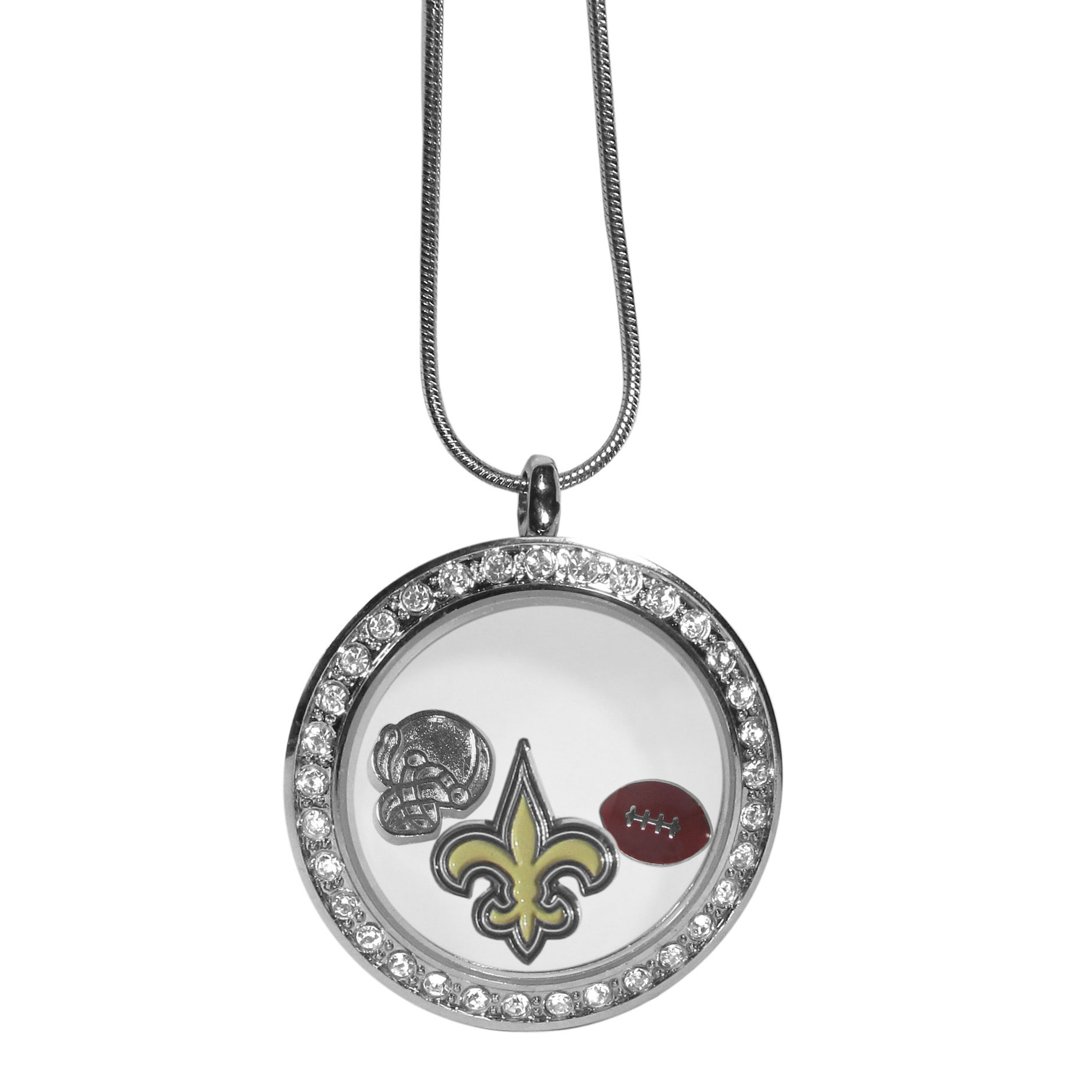 New Orleans Saints Locket Necklace - We have taken the classic floating charm locket and combined with licensed sports charms to create a must have fan necklace. The necklace comes with 3 charms; 1 New Orleans Saints charm, one football charm and one helmet charm. The charms float in a beautiful locket that has a strong magnetic closure with a rhinestone border. The locket comes on an 18 inch snake chain with 2 inch extender.