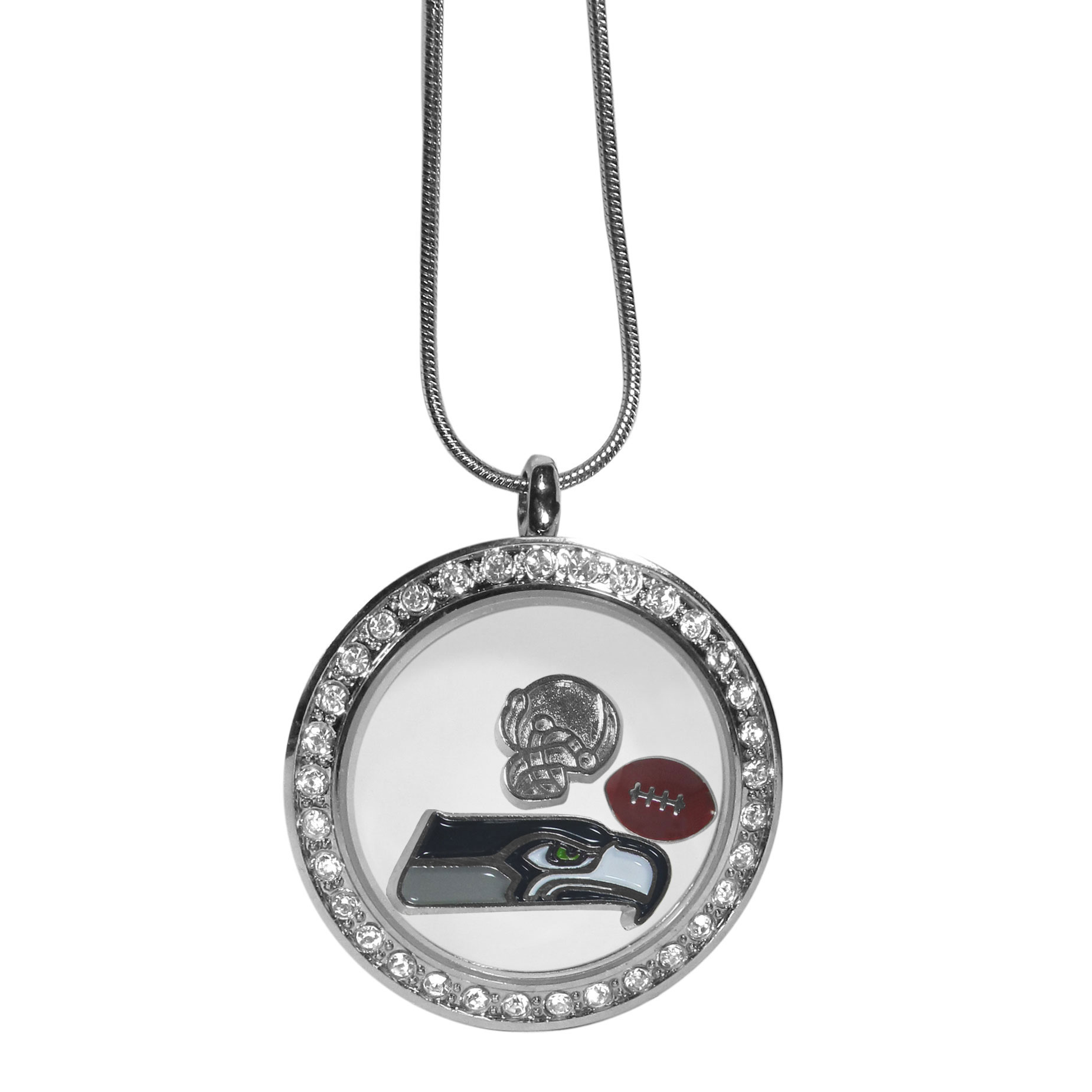 Seattle Seahawks Locket Necklace - We have taken the classic floating charm locket and combined with licensed sports charms to create a must have fan necklace. The necklace comes with 3 charms; 1 Seattle Seahawks charm, one football charm and one helmet charm. The charms float in a beautiful locket that has a strong magnetic closure with a rhinestone border. The locket comes on an 18 inch snake chain with 2 inch extender.