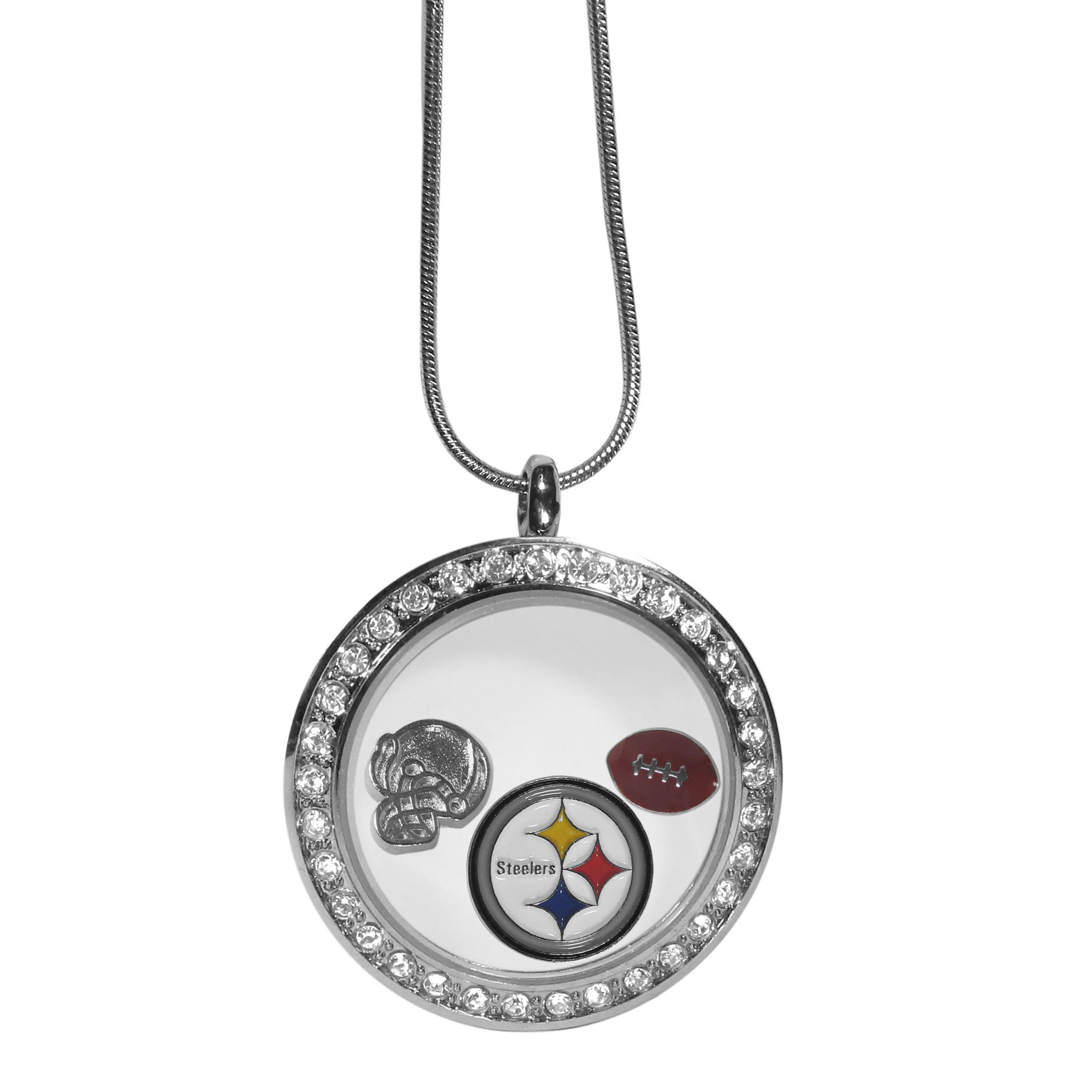 Pittsburgh Steelers Locket Necklace - We have taken the classic floating charm locket and combined with licensed sports charms to create a must have fan necklace. The necklace comes with 3 charms; 1 Pittsburgh Steelers charm, one football charm and one helmet charm. The charms float in a beautiful locket that has a strong magnetic closure with a rhinestone border. The locket comes on an 18 inch snake chain with 2 inch extender.