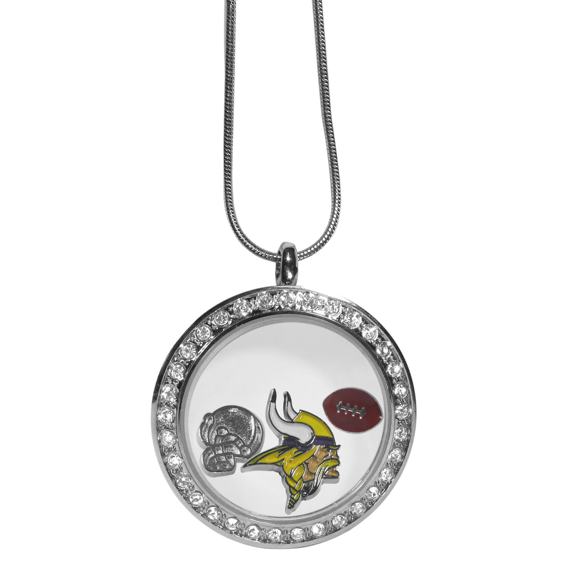 Minnesota Vikings Locket Necklace - We have taken the classic floating charm locket and combined with licensed sports charms to create a must have fan necklace. The necklace comes with 3 charms; 1 Minnesota Vikings charm, one football charm and one helmet charm. The charms float in a beautiful locket that has a strong magnetic closure with a rhinestone border. The locket comes on an 18 inch snake chain with 2 inch extender.