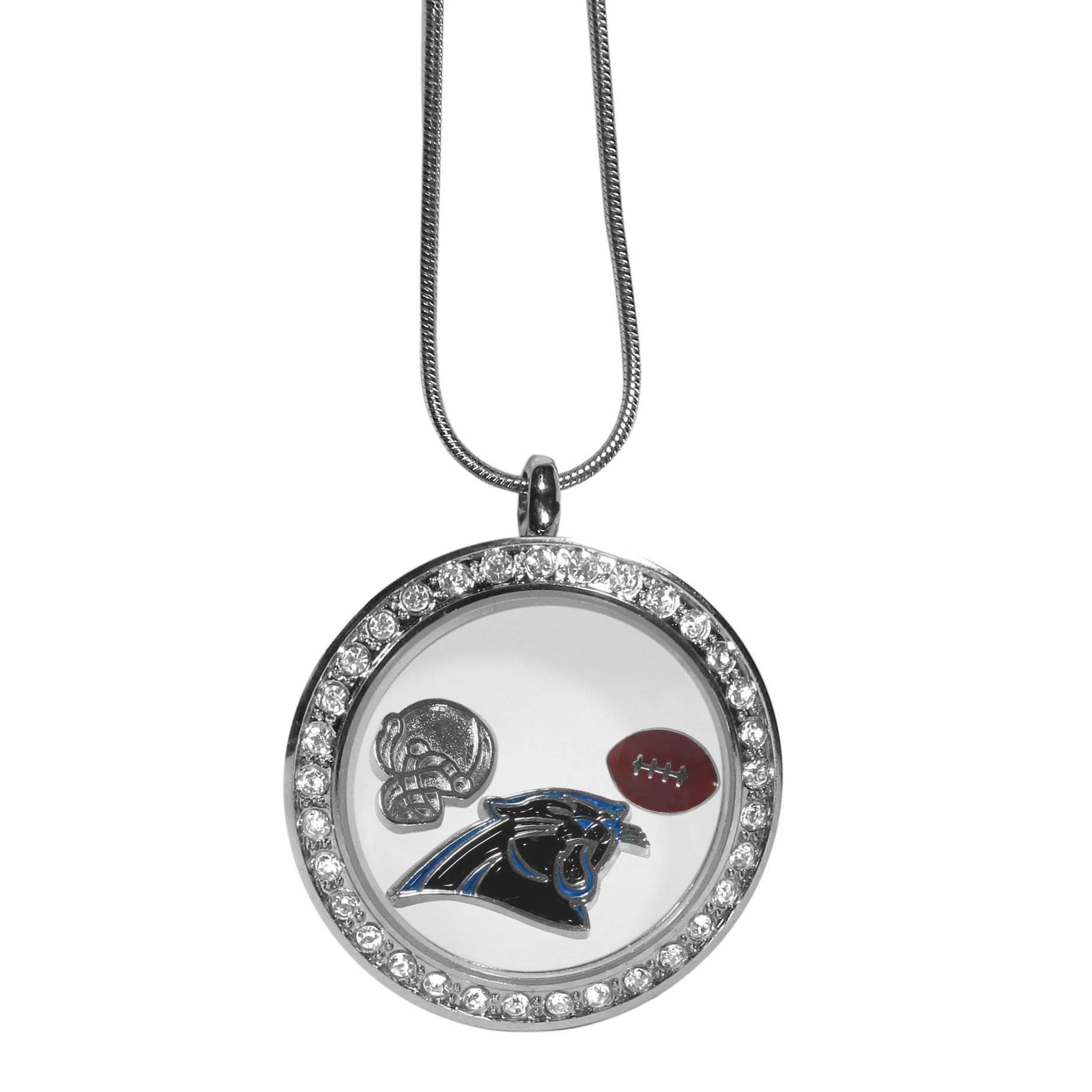 Carolina Panthers Locket Necklace - We have taken the classic floating charm locket and combined with licensed sports charms to create a must have fan necklace. The necklace comes with 3 charms; 1 Carolina Panthers charm, one football charm and one helmet charm. The charms float in a beautiful locket that has a strong magnetic closure with a rhinestone border. The locket comes on an 18 inch snake chain with 2 inch extender.