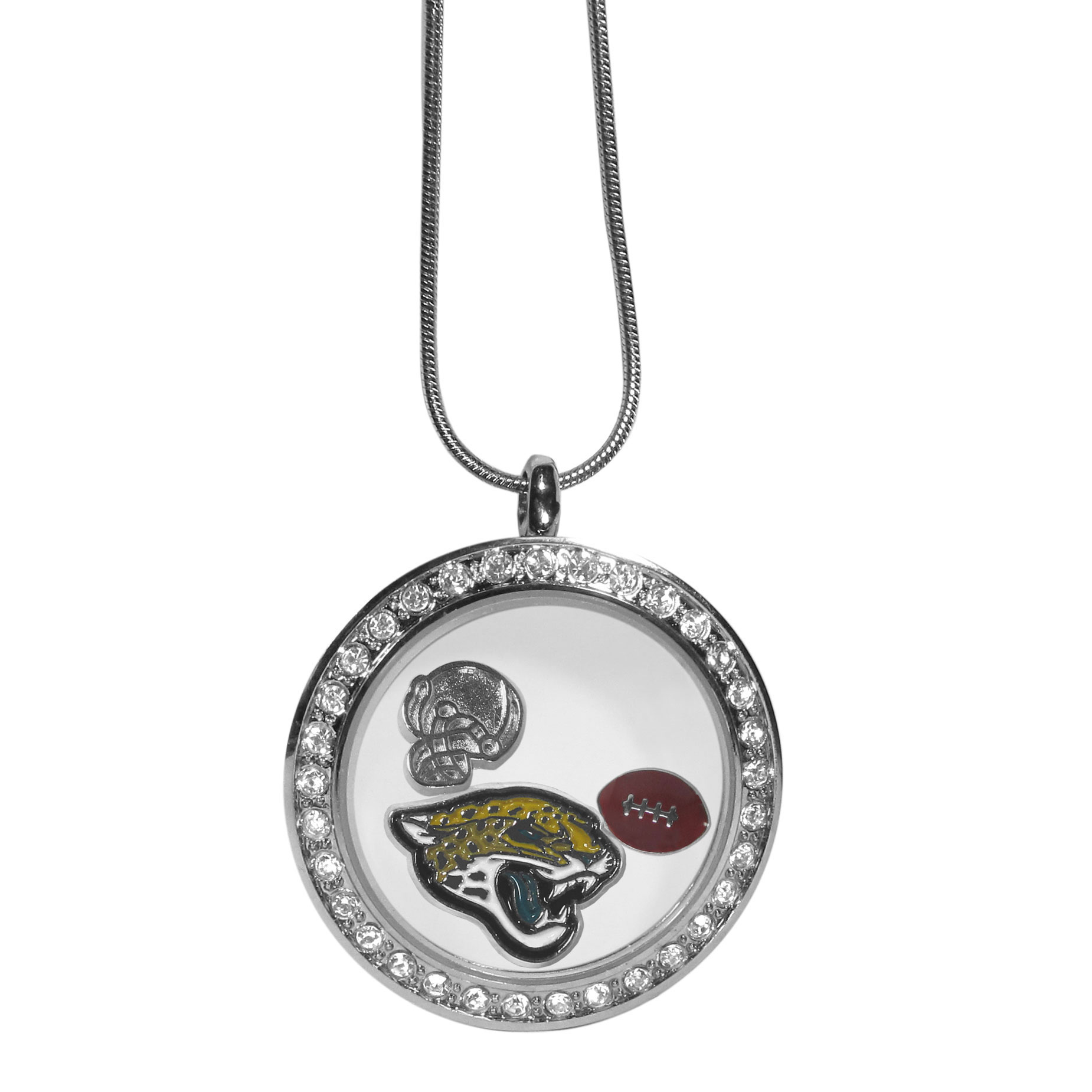 Jacksonville Jaguars Locket Necklace - We have taken the classic floating charm locket and combined with licensed sports charms to create a must have fan necklace. The necklace comes with 3 charms; 1 Jacksonville Jaguars charm, one football charm and one helmet charm. The charms float in a beautiful locket that has a strong magnetic closure with a rhinestone border. The locket comes on an 18 inch snake chain with 2 inch extender.