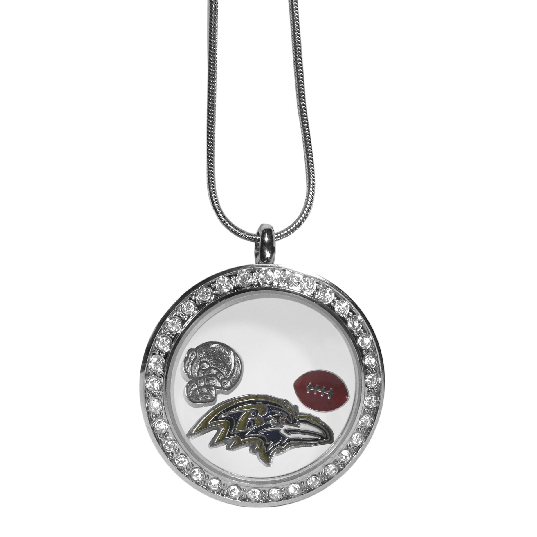 Baltimore Ravens Locket Necklace - We have taken the classic floating charm locket and combined with licensed sports charms to create a must have fan necklace. The necklace comes with 3 charms; 1 Baltimore Ravens charm, one football charm and one helmet charm. The charms float in a beautiful locket that has a strong magnetic closure with a rhinestone border. The locket comes on an 18 inch snake chain with 2 inch extender.