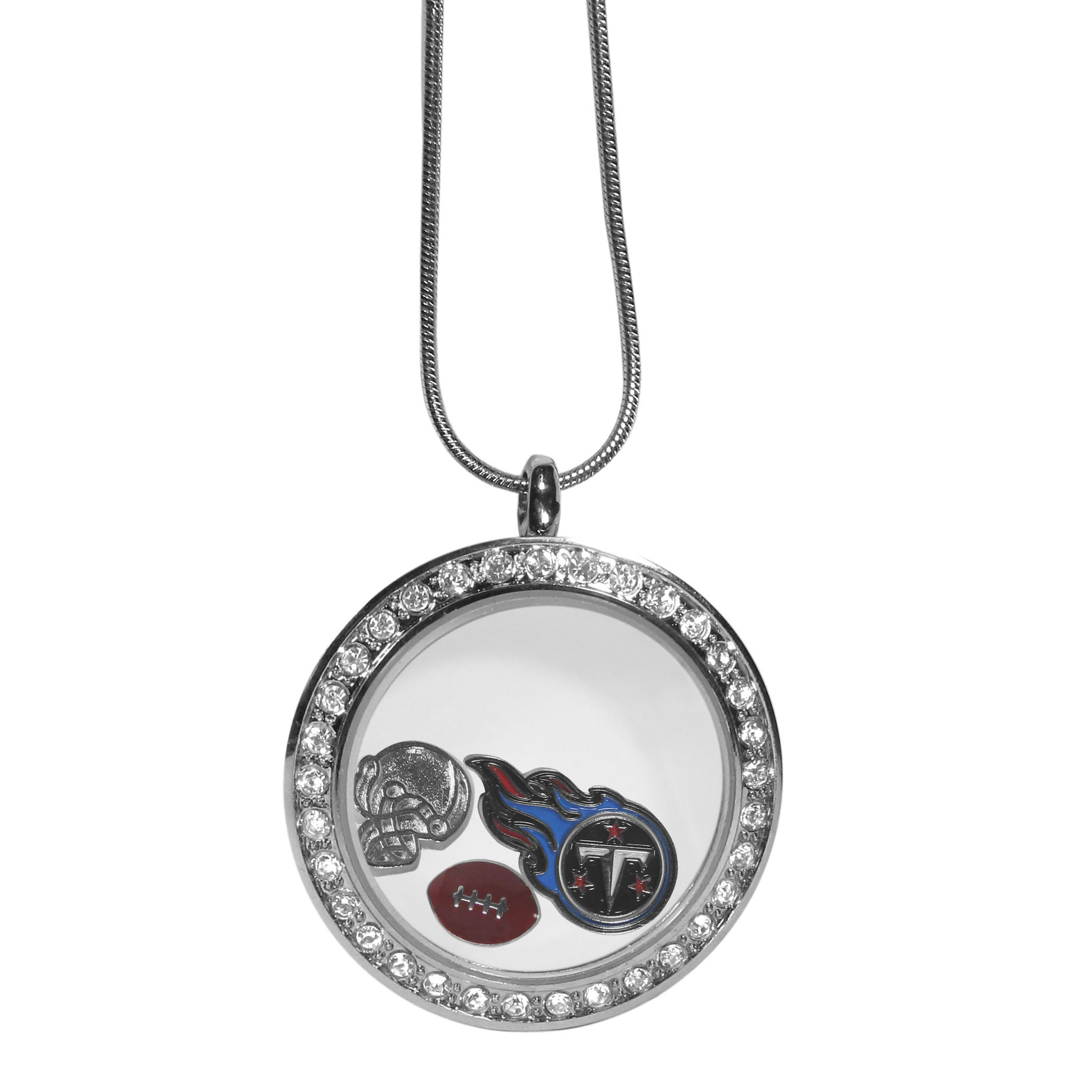 Tennessee Titans Locket Necklace - We have taken the classic floating charm locket and combined with licensed sports charms to create a must have fan necklace. The necklace comes with 3 charms; 1 Tennessee Titans charm, one football charm and one helmet charm. The charms float in a beautiful locket that has a strong magnetic closure with a rhinestone border. The locket comes on an 18 inch snake chain with 2 inch extender.