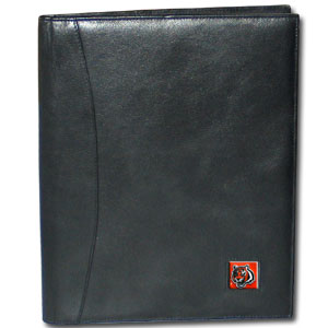 "Leather Portfolio - Cincinnati Bengals  - This genuine leather portfolio fits an 8 1/2"" x 11"" writing pad and includes slots for your credit cards, a spacious pocket and a pen holder. The front features a hand painted metal square with the primary team logo. Officially licensed NFL product Licensee: Siskiyou Buckle .com"