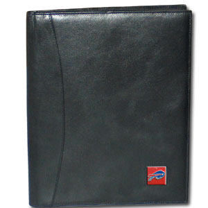"Leather Portfolio - Buffalo Bills  - This genuine leather portfolio fits an 8 1/2"" x 11"" writing pad and includes slots for your credit cards, a spacious pocket and a pen holder. The front features a hand painted metal square with the primary team logo. Officially licensed NFL product Licensee: Siskiyou Buckle .com"