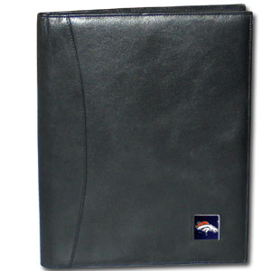 "Leather Portfolio - Denver Broncos - This genuine leather portfolio fits an 8 1/2"" x 11"" writing pad and includes slots for your credit cards, a spacious pocket and a pen holder. The front features a hand painted metal square with the primary team logo. Officially licensed NFL product Licensee: Siskiyou Buckle Thank you for visiting CrazedOutSports.com"