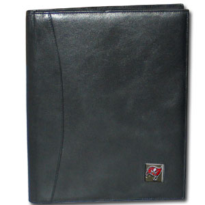 "Leather Portfolio - Tampa Bay Buccaneers - This genuine leather portfolio fits an 8 1/2"" x 11"" writing pad and includes slots for your credit cards, a spacious pocket and a pen holder. The front features a hand painted metal square with the primary team logo. Officially licensed NFL product Licensee: Siskiyou Buckle .com"