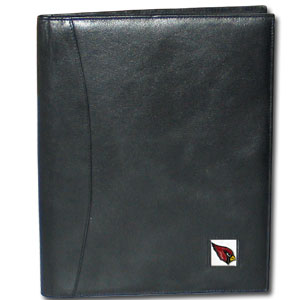 "Leather Portfolio - Arizona Cardinals - This genuine leather portfolio fits an 8 1/2"" x 11"" writing pad and includes slots for your credit cards, a spacious pocket and a pen holder. The front features a hand painted metal square with the primary team logo. Officially licensed NFL product Licensee: Siskiyou Buckle .com"
