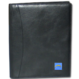 "Leather Portfolio - Los Angeles Chargers - This genuine leather portfolio fits an 8 1/2"" x 11"" writing pad and includes slots for your credit cards, a spacious pocket and a pen holder. The front features a hand painted metal square with the Los Angeles Chargers logo. Officially licensed NFL product Licensee: Siskiyou Buckle .com"