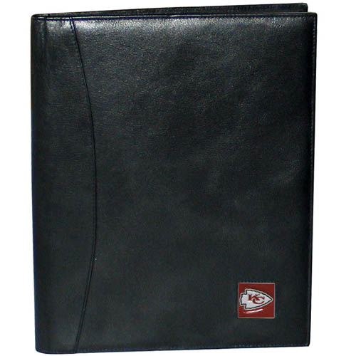 "Leather Portfolio - Kansas City Chiefs - This genuine leather portfolio fits an 8 1/2"" x 11"" writing pad and includes slots for your credit cards, a spacious pocket and a pen holder. The front features a hand painted metal square with the primary team logo. Officially licensed NFL product Licensee: Siskiyou Buckle Thank you for visiting CrazedOutSports.com"