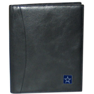 "Leather Portfolio - Dallas Cowboys - This genuine leather portfolio fits an 8 1/2"" x 11"" writing pad and includes slots for your credit cards, a spacious pocket and a pen holder. The front features a hand painted metal square with the primary team logo. Officially licensed NFL product Licensee: Siskiyou Buckle Thank you for visiting CrazedOutSports.com"