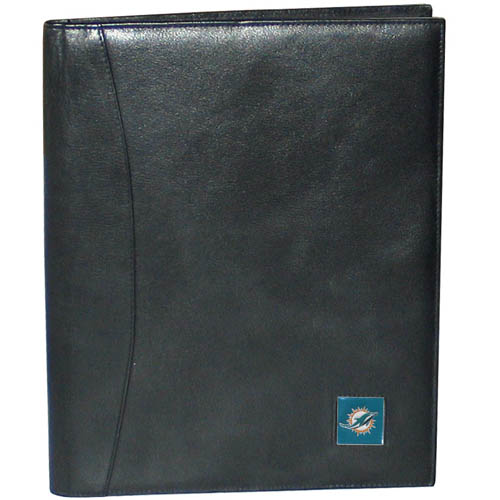 "Leather Portfolio - Miami Dolphins - This genuine leather portfolio fits an 8 1/2"" x 11"" writing pad and includes slots for your credit cards, a spacious pocket and a pen holder. The front features a hand painted metal square with the primary team logo. Officially licensed NFL product Licensee: Siskiyou Buckle .com"