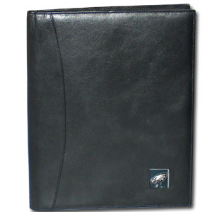 "Leather Portfolio - Philadelphia Eagles - This genuine leather portfolio fits an 8 1/2"" x 11"" writing pad and includes slots for your credit cards, a spacious pocket and a pen holder. The front features a hand painted metal square with the primary team logo. Officially licensed NFL product Licensee: Siskiyou Buckle .com"