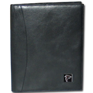 "Leather Portfolio - Atlanta Falcons - This genuine leather portfolio fits an 8 1/2"" x 11"" writing pad and includes slots for your credit cards, a spacious pocket and a pen holder. The front features a hand painted metal square with the primary team logo. Officially licensed NFL product Licensee: Siskiyou Buckle .com"