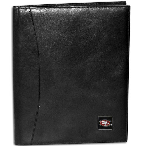 "Leather Portfolio - San Francisco 49ers - This genuine leather portfolio fits an 8 1/2"" x 11"" writing pad and includes slots for your credit cards, a spacious pocket and a pen holder. The front features a hand painted metal square with the primary team logo. Officially licensed NFL product Licensee: Siskiyou Buckle .com"