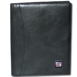 "Leather Portfolio - New York Giants - This genuine leather portfolio fits an 8 1/2"" x 11"" writing pad and includes slots for your credit cards, a spacious pocket and a pen holder. The front features a hand painted metal square with the primary team logo. Officially licensed NFL product Licensee: Siskiyou Buckle .com"