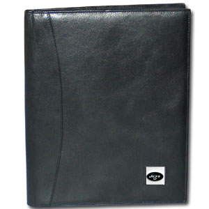 "Leather Portfolio - New York Jets - This genuine leather portfolio fits an 8 1/2"" x 11"" writing pad and includes slots for your credit cards, a spacious pocket and a pen holder. The front features a hand painted metal square with the primary team logo. Officially licensed NFL product Licensee: Siskiyou Buckle Thank you for visiting CrazedOutSports.com"