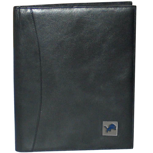 "Leather Portfolio - Detroit Lions - This genuine leather portfolio fits an 8 1/2"" x 11"" writing pad and includes slots for your credit cards, a spacious pocket and a pen holder. The front features a hand painted metal square with the primary team logo. Officially licensed NFL product Licensee: Siskiyou Buckle .com"