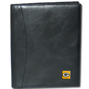 "Leather Portfolio - Green Bay Packers - This genuine leather portfolio fits an 8 1/2"" x 11"" writing pad and includes slots for your credit cards, a spacious pocket and a pen holder. The front features a hand painted metal square with the primary team logo. Officially licensed NFL product Licensee: Siskiyou Buckle Thank you for visiting CrazedOutSports.com"
