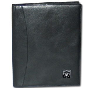 "Leather Portfolio - Oakland Raiders - This genuine leather portfolio fits an 8 1/2"" x 11"" writing pad and includes slots for your credit cards, a spacious pocket and a pen holder. The front features a hand painted metal square with the primary team logo. Officially licensed NFL product Licensee: Siskiyou Buckle Thank you for visiting CrazedOutSports.com"