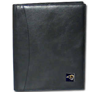 "Leather Portfolio - St. Louis Rams - This genuine leather portfolio fits an 8 1/2"" x 11"" writing pad and includes slots for your credit cards, a spacious pocket and a pen holder. The front features a hand painted metal square with the primary team logo. Officially licensed NFL product Licensee: Siskiyou Buckle .com"