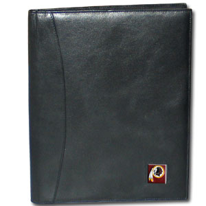 "Leather Portfolio - Washington Redskins - This genuine leather portfolio fits an 8 1/2"" x 11"" writing pad and includes slots for your credit cards, a spacious pocket and a pen holder. The front features a hand painted metal square with the primary team logo. Officially licensed NFL product Licensee: Siskiyou Buckle Thank you for visiting CrazedOutSports.com"