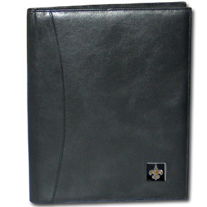 "Leather Portfolio - New Orleans Saints - This genuine leather portfolio fits an 8 1/2"" x 11"" writing pad and includes slots for your credit cards, a spacious pocket and a pen holder. The front features a hand painted metal square with the primary team logo. Officially licensed NFL product Licensee: Siskiyou Buckle .com"