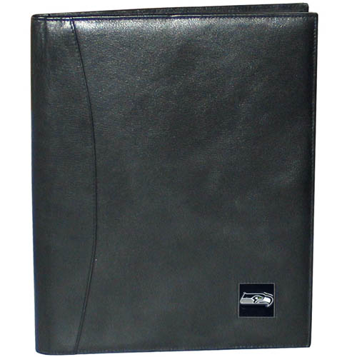 "Leather Portfolio - Seattle Seahawks - This genuine leather portfolio fits an 8 1/2"" x 11"" writing pad and includes slots for your credit cards, a spacious pocket and a pen holder. The front features a hand painted metal square with the primary team logo. Officially licensed NFL product Licensee: Siskiyou Buckle .com"