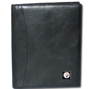 "Leather Portfolio - Pittsburgh Steelers - This genuine leather portfolio fits an 8 1/2"" x 11"" writing pad and includes slots for your credit cards, a spacious pocket and a pen holder. The front features a hand painted metal square with the primary team logo. Officially licensed NFL product Licensee: Siskiyou Buckle .com"