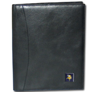 "Leather Portfolio - Minnesota Vikings - This genuine leather portfolio fits an 8 1/2"" x 11"" writing pad and includes slots for your credit cards, a spacious pocket and a pen holder. The front features a hand painted metal square with the primary team logo. Officially licensed NFL product Licensee: Siskiyou Buckle .com"