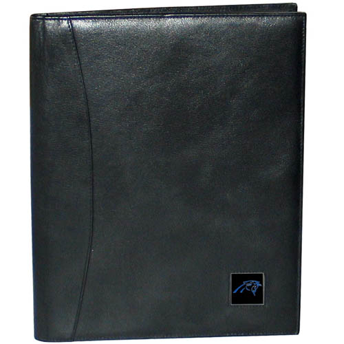 "Leather Portfolio - Carolina Panthers - This genuine leather portfolio fits an 8 1/2"" x 11"" writing pad and includes slots for your credit cards, a spacious pocket and a pen holder. The front features a hand painted metal square with the primary team logo. Officially licensed NFL product Licensee: Siskiyou Buckle .com"
