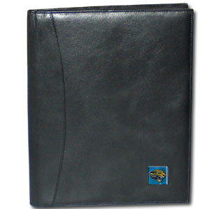"Leather Portfolio - Jacksonville Jaguars - This genuine leather portfolio fits an 8 1/2"" x 11"" writing pad and includes slots for your credit cards, a spacious pocket and a pen holder. The front features a hand painted metal square with the primary team logo. Officially licensed NFL product Licensee: Siskiyou Buckle Thank you for visiting CrazedOutSports.com"