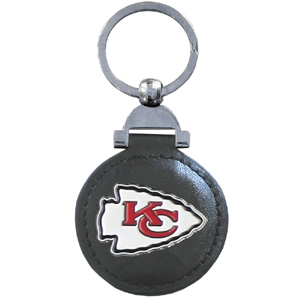 "Leather Key Ring - Kansas City Chiefs - Our NFL leather key ring is a 1 3/4"" circle of genuine leather featuring a chrome and enameled team logo. Officially licensed NFL product Licensee: Siskiyou Buckle Thank you for visiting CrazedOutSports.com"