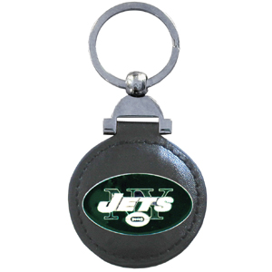 "Leather Key Ring - New York Jets - Our NFL leather key ring is a 1 3/4"" circle of genuine leather featuring a chrome and enameled team logo. Officially licensed NFL product Licensee: Siskiyou Buckle Thank you for visiting CrazedOutSports.com"