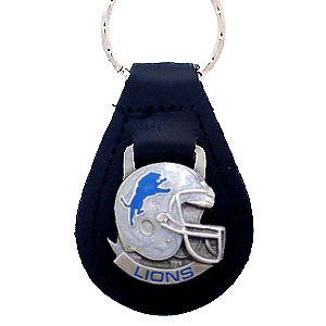 Detroit Lions Small Leather Key Ring - Detroit Lions helmet on a leather fob. Check out our entire line of  Wallets and Checkbook Covers! Officially licensed NFL product Licensee: Siskiyou Buckle .com