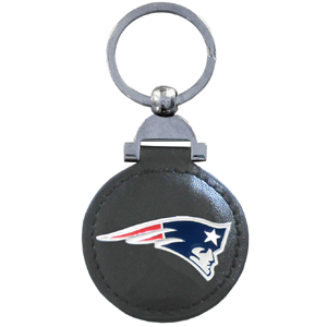 "Leather Key Ring - New England Patriots - Our NFL leather key ring is a 1 3/4"" circle of genuine leather featuring a chrome and enameled team logo. Officially licensed NFL product Licensee: Siskiyou Buckle .com"