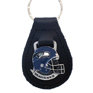 Seattle Seahawks Small Leather Key Ring - Seattle Seahawks helmet on a leather fob. Check out our entire line of  Wallets and Checkbook Covers! Officially licensed NFL product Licensee: Siskiyou Buckle .com