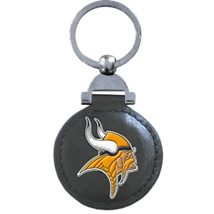 "Leather Key Ring - Minnesota Vikings - Our NFL leather key ring is a 1 3/4"" circle of genuine leather featuring a chrome and enameled team logo. Officially licensed NFL product Licensee: Siskiyou Buckle .com"